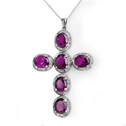 Genuine 20.0 ctw Amethyst & Diamond Pendant 14K Gold