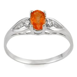 Genuine 0.42ctw Fire Opal & Diamond Ring 10K White Gold