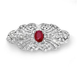 Genuine 3.75 ctw Ruby & Diamond Brooch 14K White Gold