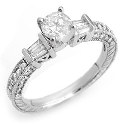 Natural 1.08 ctw Diamond Bridal Ring 14K White Gold