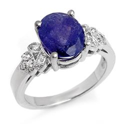 Genuine 3.5ct Tanzanite & Diamond Ring 14K White Gold