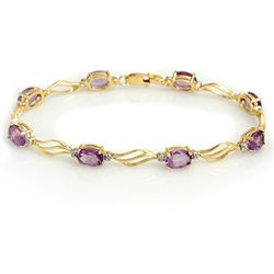 Genuine 6.02 ctw Amethyst & Diamond Bracelet 10K Gold