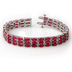 Genuine 30.26 ctw Ruby & Diamond Bracelet White Gold