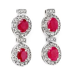 Genuine 6.75 ctw Ruby & Diamond Earrings White Gold