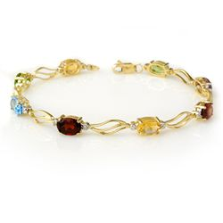 Genuine 8.02 ctw Multi-Sapphire & Diamond Bracelet Gold