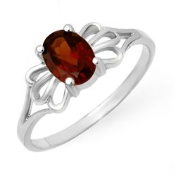 Genuine 1.0 ctw Garnet Ring 10K White Gold