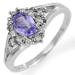 Genuine 0.95ctw Tanzanite & Diamond Ring 10K White Gold