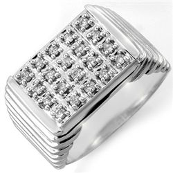 Natural 1.0 ctw Diamond Men's Ring 10K White Gold