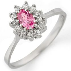Genuine 0.60 ctw Pink Sapphire & Diamond Ring 14K White Gold