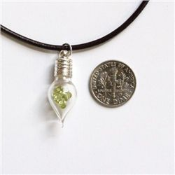 Teardrop Glass Necklace with 1ct Natural Peridot from USA - 103PERN