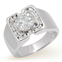 Natural 2.08 ctw Diamond Men's Ring 10K White Gold