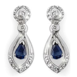 Genuine 1.36 ctw Blue Sapphire & Diamond Earrings Gold