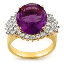 Genuine 8.18ctw Amethyst & Diamond Ring 14K Yellow Gold