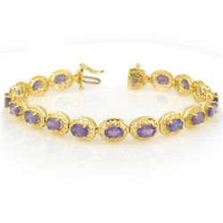 Genuine 18.0 ctw Tanzanite Bracelet 10K Yellow Gold