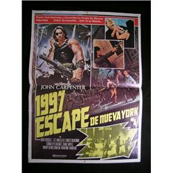 Escape From New York Signed Mexican Poster