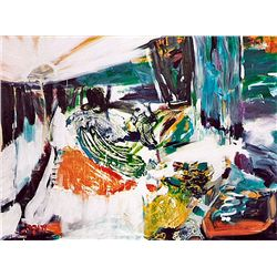 Silvia A. -GREEN ABSTRACT -Hand Signed Limited Ed. Lithograph on Canvas