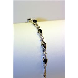 Lady's Beautiful Silver Sapphire & Diamonds Bracelet