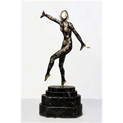 Signed Chiparus Bronze and Ivory - Chorus Girl