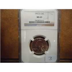 1992-D WASHINGTON QUARTER NGC MS65
