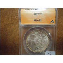 1899-O MORGAN SILVER DOLLAR ANACS MS62