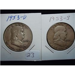 1953-D & 53-S FRANKLIN HALF DOLLARS