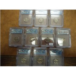 10 ASSORTED ICG BUFFALO NICKEL SLABS