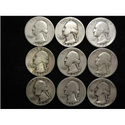 9 ASSORTED 1940'S WASHINGTON SILVER QUARTERS