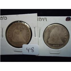1873 & 77 SEATED LIBERTY QUARTERS