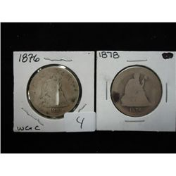 1876 & 78 SEATED LIBERTY QUARTERS