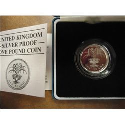 1985 UNITED KINGDOM SILVER PROOF ONE POUND COIN