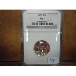 1958 WASHINGTON SILVER QUARTER NGC PF67