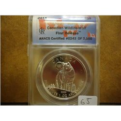 2011 CANADIAN $5 WILDLIFE WOLF ANACS MS69