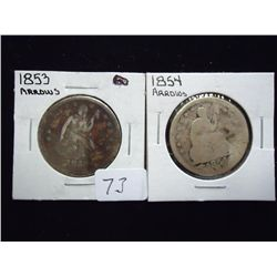 1853 & 54 SEATED LIBERTY QUARTERS
