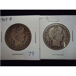1907-D & 14-S BARBER HALF DOLLARS BOTH VERY GOODS