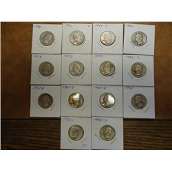 14 ASSORTED 1930'S & 40'S WASHINGTON SILVER 1/4'S