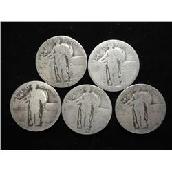 5 ASSORTED STANDING LIBERTY QUARTERS NO DATES