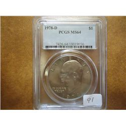 1978-D IKE DOLLAR PCGS MS64
