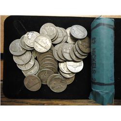 ROLL OF 40-35% SILVER JEFFERSON WAR NICKELS