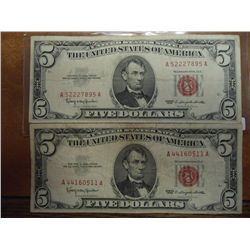 2-1963 US $5 NOTES RED SEALS