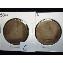 1856 & 76 SEATED LIBERTY QUARTERS
