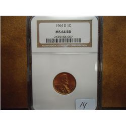 1964-D LINCOLN CENT NGC MS64 RD