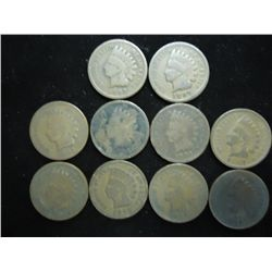 10 ASSORTED 1890'S INDIAN HEAD CENTS