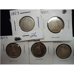1857,87,87-S,90 & 91 SEATED LIBERTY DIMES
