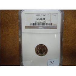 1999-P ROOSEVELT DIME NGC MS68 FT