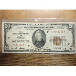 1929 $20 NATIONAL CURRENCY ATLANTA