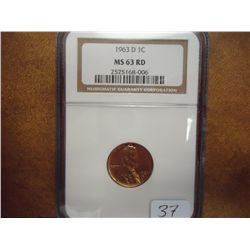 1963-D LINCOLN CENT NGC MS63RD