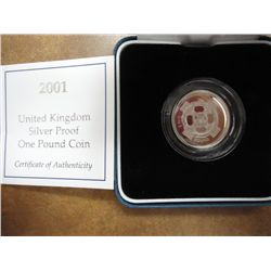 2001 UNITED KINGDOM SILVER PF 1 POUND COIN