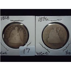 1858 & 76 SEATED LIBERTY QUARTERS