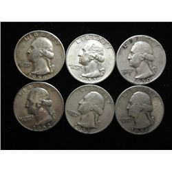 6 ASSORTED 1950'S WASHINGTON SILVER QUARTERS