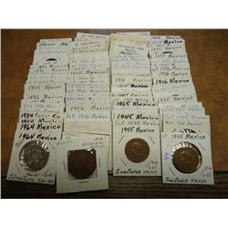 100 ASSORTED FLIPPED MEXICAN COINS